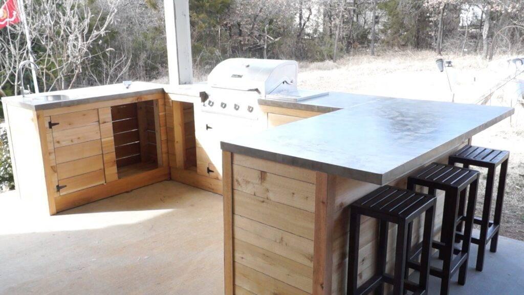 houten buitenkeuken maken