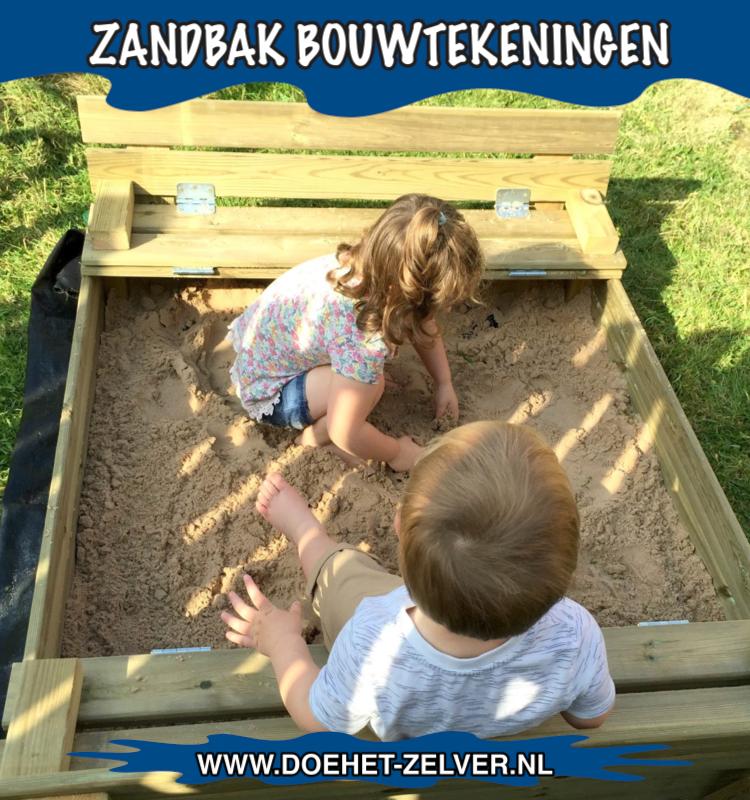 Kinder zandbak gebouwd met een bouwtekening