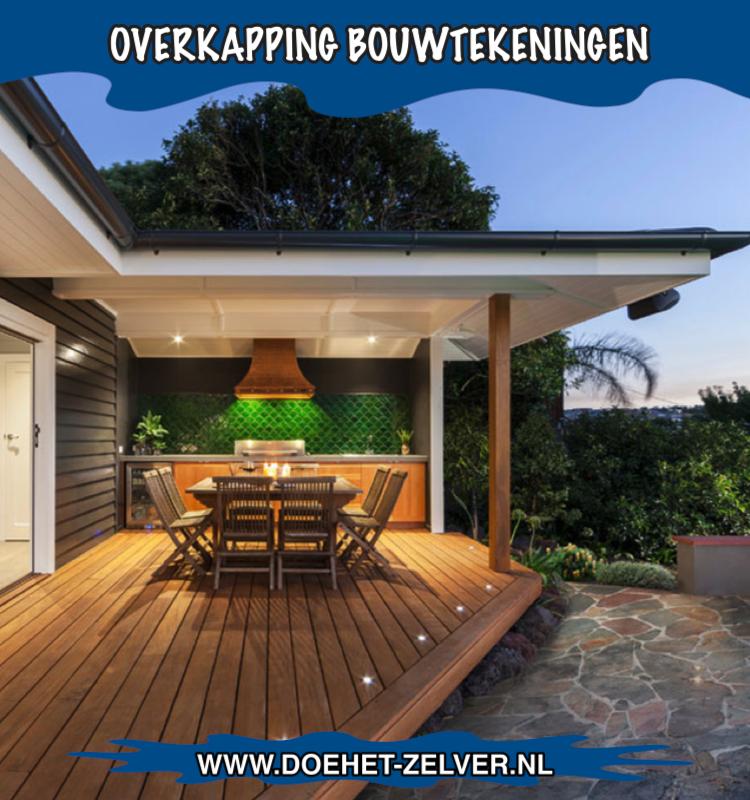 Bouwtekening overkapping plat dak maken van hout