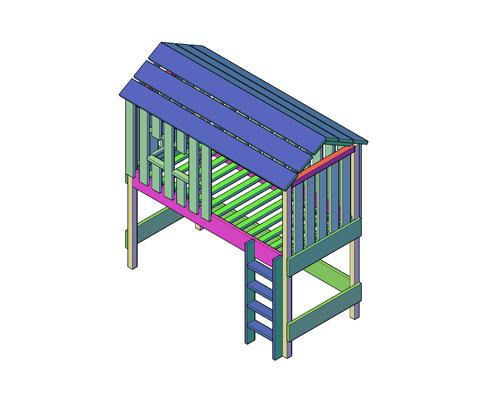 Boomhutbed met puntdak en ladder maken